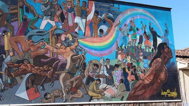 A mural on Cusco's Avenida el Sol chronicles the country's tumultuous history.