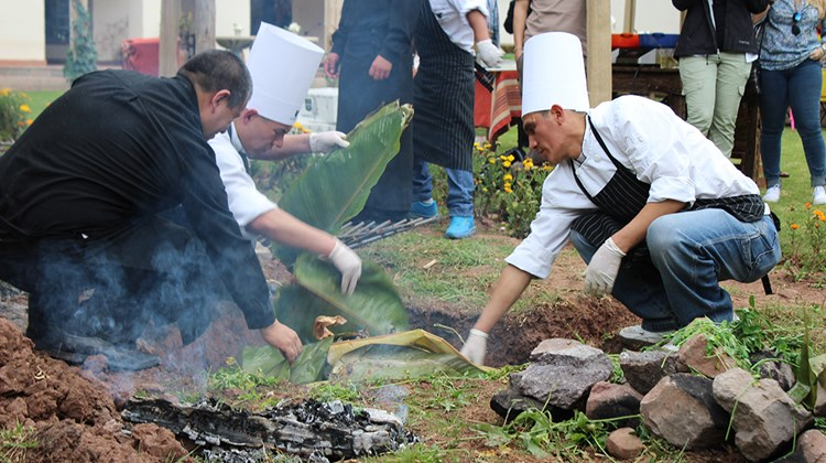At the Hacienda Sarapampa, the Marriott's culinary team prepares a pachamanca (earth oven): Meat and potatoes are wrapped in plantain leaves and buried as the packets are cooked over hot stones.