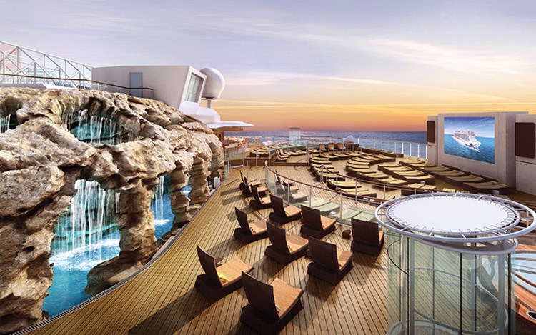 The Spice H2O space on Norwegian Escape features a grotto area for sunbathers to cool off.