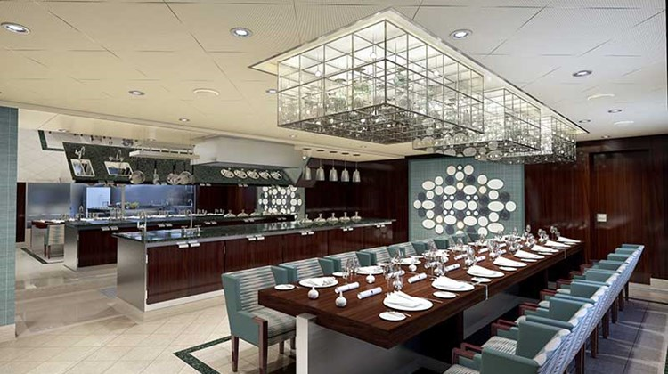 The Chef's Table restaurant, where guests enjoy a multicourse gourmet dinner.