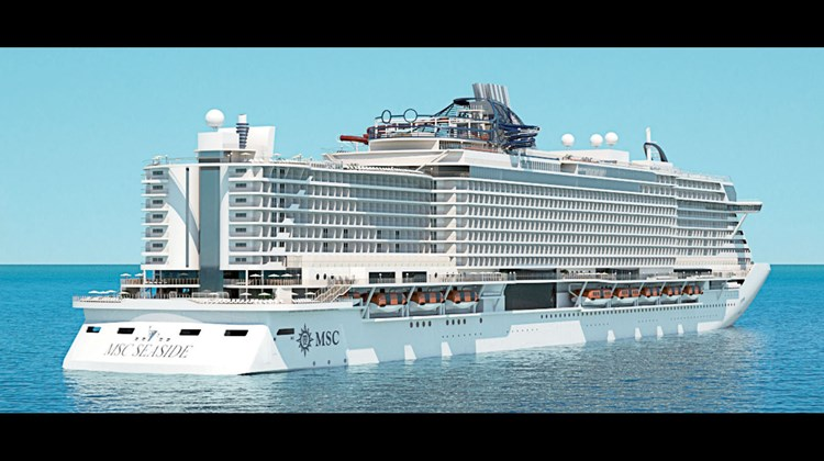 A rendering of the MSC Seaside that shows its aft profile and the promenade that will be close to the waterline.