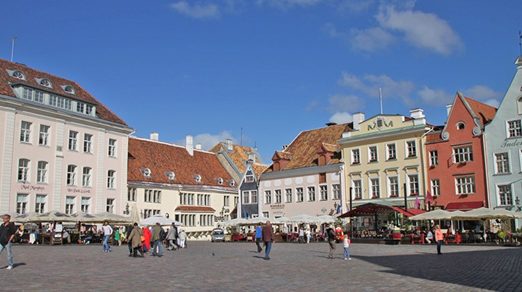 Tallinn's Town Hall Square, where old houses are often now restaurants, many with outdoor seating in good weather.