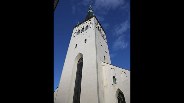 St. Olaf's Church, with Tallinn's tallest spire pointing skyward. A previous St. Olaf's was the world's tallest structure until it burned in about 1625.