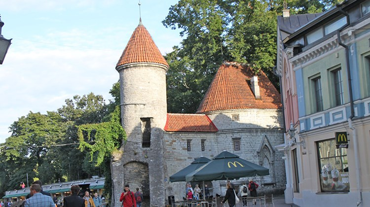 One side of Viru Gate seen from inside Tallinn's Old Town walls. A McDonald's logo is visible at lower right.