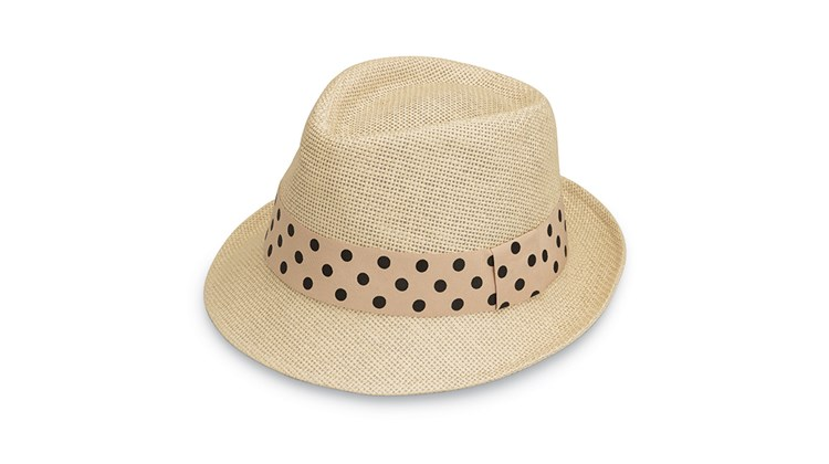 Made of neutral-colored 100% paper cloth, this lightweight topper for women is as attractive as it is practical. The Wallaroo Gigi has a light cotton lining, comes in either a 2-inch brim trilby or 3-inch brim fedora model and sports a polka dot ribbon around the crown. Like all of Wallaroo's line of sun-protective hats, the adjustable Gigi has a UPF 50+ rating, which means that it blocks almost 98% of the sun's harmful UV rays.