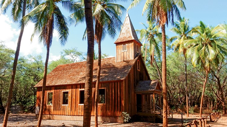 One of the only remaining structures in the old sugar plantation town of Keomoku, located on Lanai's remote east coast, Ka Lanakila Church was built in 1903 and held services conducted solely in the Hawaiian language.