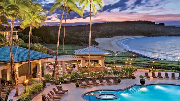 The Four Seasons Resort Lanai at Manele Bay, overlooking popular Hulopoe Beach, is the island's lone oceanfront resort, home to 201 luxury guestrooms and suites.