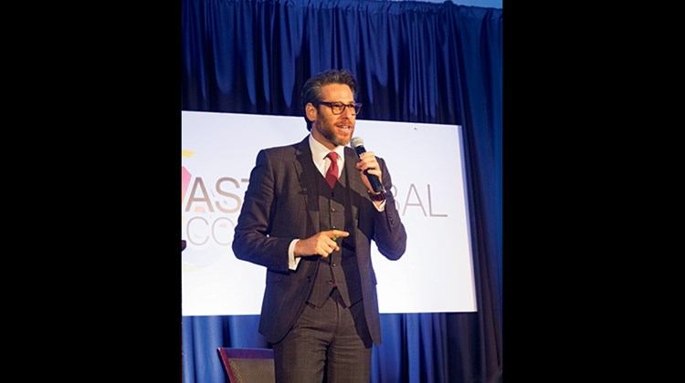 Sasha Strauss, managing director of Innovation Protocol, spoke about branding during his keynote address at Monday's general session of the ASTA Global Convention.