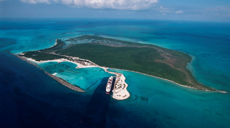 An aerial view of Castaway Cay, Disney Cruise Line's private island in the Bahamas.
