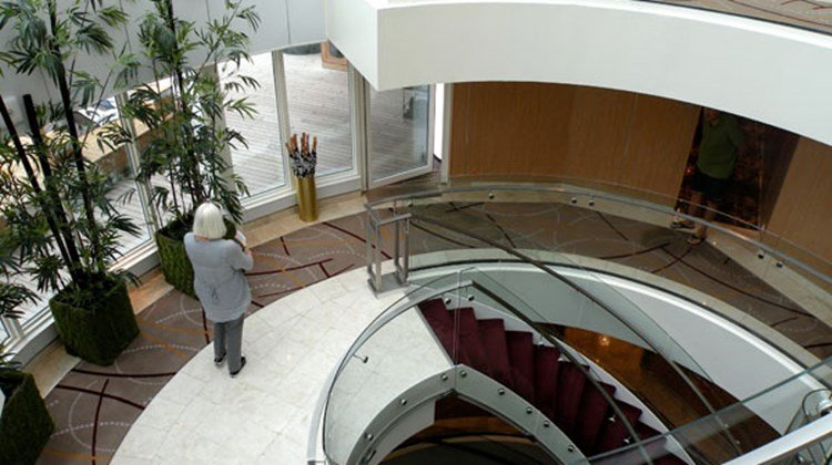 The Central Stairway on the Seabourn Odyssey.