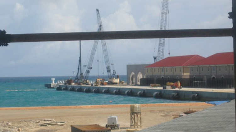 During a trip to Jamaica in January for Caribbean Marketplace, senior editor Gay Nagle Myers traveled from Falmouth to Montego Bay to see some of the newest projects on the island. Pictured here, a view of one of the two piers at the new Falmouth cruise port in Jamaica, set to open in February.