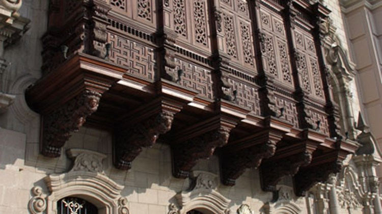 Close-up of a balcony on the Archbishop's Palace, now a museum, in Lima's Plaza Mayor.