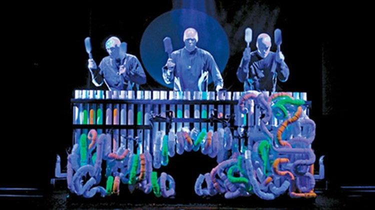 Blue Man Group in a performance on Norwegian Cruise Line's Norwegian Epic.