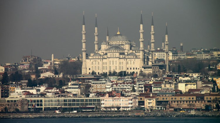 Istanbul's Blue Mosque, seen from the bridge during the Louis Cristal's morning arrival into Turkey's largest city.