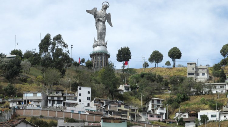 The Virgin of Quito statue atop Panecillo Hill.