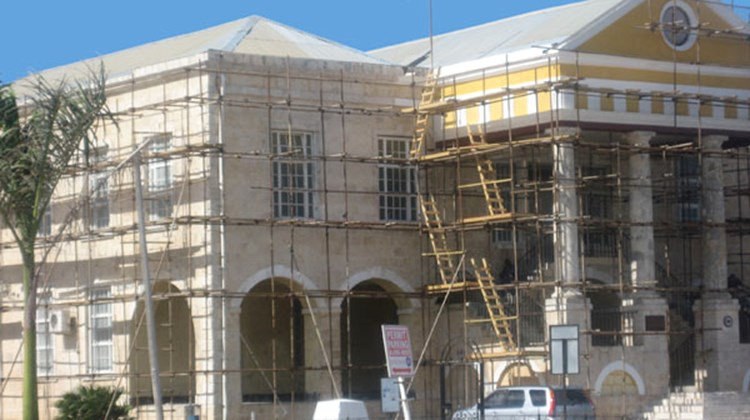 Falmouth Courthouse, a working courthouse built in 1815, is currently undergoing renovation in Falmouth.