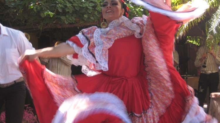 A dancer in traditional Mexican finery entertained guests at Los Arrieros restaurant in El Quelite, 40 miles northeast of Mazatlan.