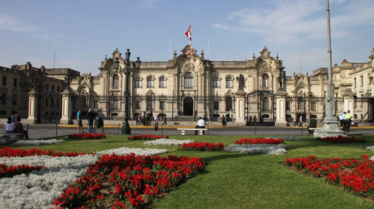 Peru's Presidential Palace, seen in the capital city's Plaza Mayor.