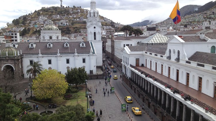 Quito's main square, with the presidential palace seen at right and La Compania Church at left.