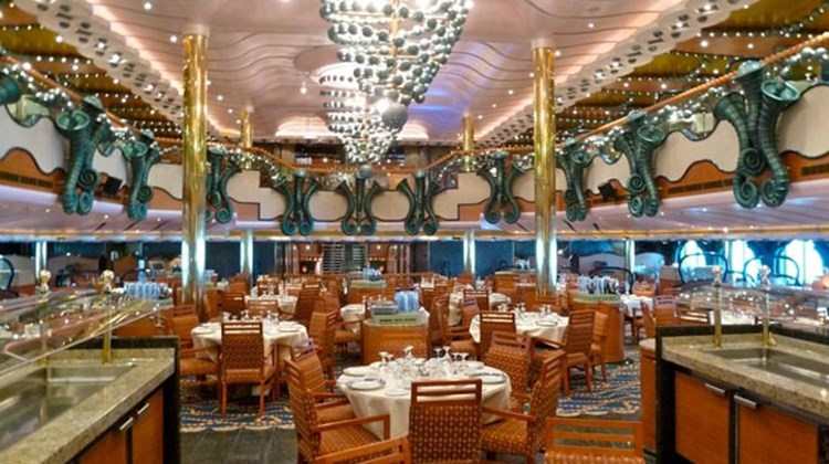 The forward-situated Black Pearl Dining Room seats 744 guests on two levels. Photo by Peter Knego/www.maritimematters.com