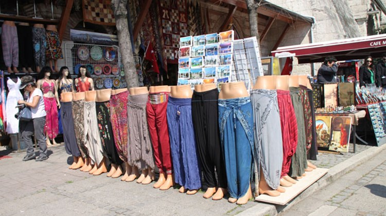Harem pants for sale at a shop just outside Hagia Sophia, once the world's largest church, in Istanbul.