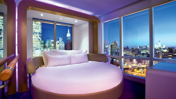 "The push of a button enables Yotel's 170-square-foot ""cabins"" to switch between ""lounge"" and ""bed"" modes."