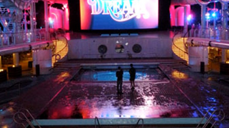 The pool deck on the Disney Dream.