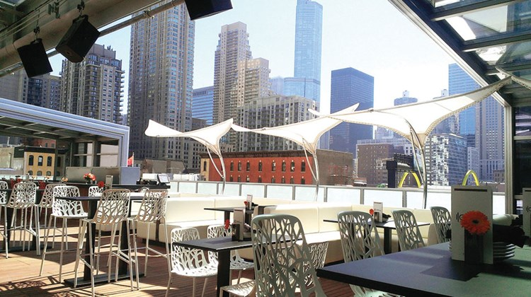 The I/O (Indoor/Outdoor) rooftop bar atop Chicago's Godfrey Hotel is a popular watering spot.