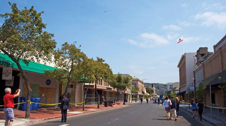 Tourists and locals strolled around downtown Napa on Monday, taking in the damage the historic city center sustained.