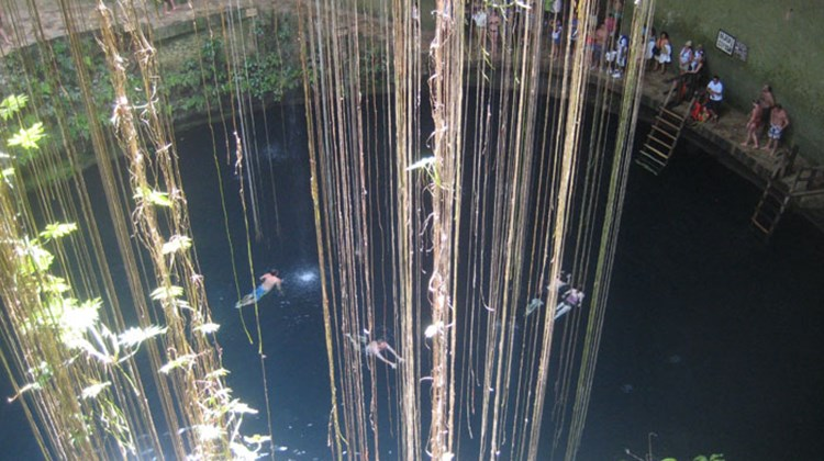 Stopping for a swim in a cenote on the way to Chichen Itza. TW photo by Gay Nagle Myers
