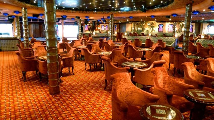 With its Moorish decor, the 425-seat cabaret style El Morocco Show Lounge is located on aft Deck 5. Photo by Peter Knego/www.maritimematters.com