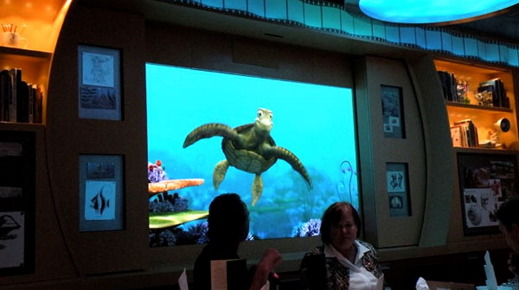"The Animators' Palette, one of three restaurants on the regular dinner rotation, features visits throughout the meals from ""Finding Nemo"" characters like Crush, who talks to passengers on screens throughout the room."
