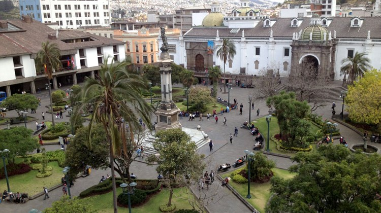Another view of the main square in Quito's Old Town.