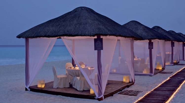 "Casitas, which the Ritz-Carlton calls Cancun's only fine-dining restaurant on the beach, allows guests to sit in private ""casitas"" for dinner."