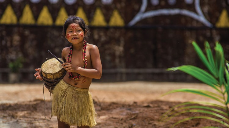 A girl from an indigenous tribe in the Amazon.
