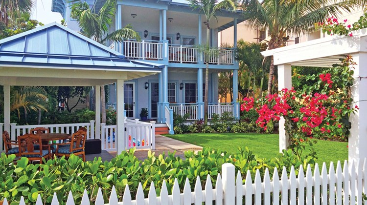 Key West has eight 2,847-square-foot beachfront villas surrounded by a white picket fence, evoking the look and feel of a Key West home. Villas include butler service.