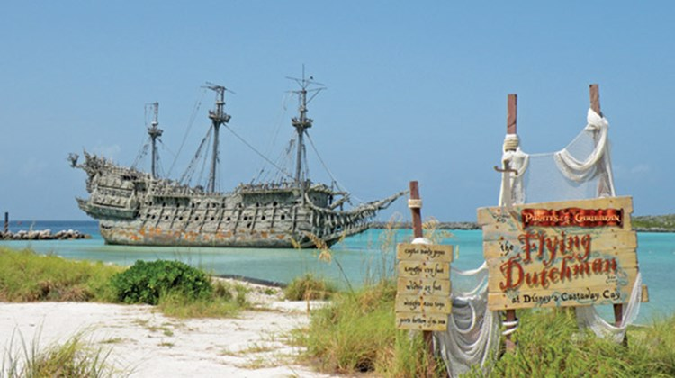 "The Flying Dutchman from the ""Pirates of the Caribbean"" movies is part of the Castaway Cay experience."