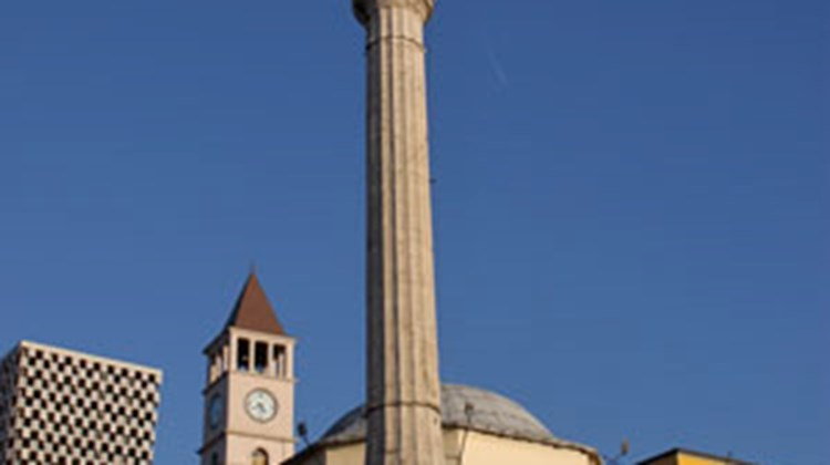 The Ethem Bey Mosque on Skanderbeg Square in Tirana.
