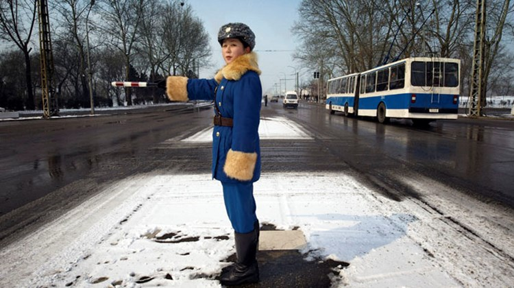 A traffic officer on the job in Pyongyang in mid-winter.
