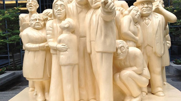 "The ""Illuminated Crowd"" sculpture outside McGill University is also called ""Buttercream"" by Montrealers. TW photo by Gay Nagle Myers"
