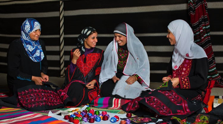 Bedouin weaving at the Women's Bedouin cooperative in Israel's Negev Desert.