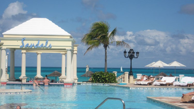 Sandals' signature pool at its Nassau resort.