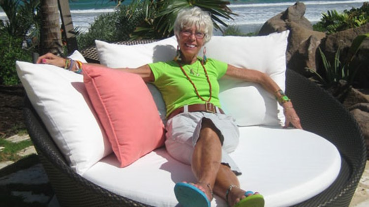 Travel Weekly's intrepid reporter, Gay Nagle Myers, at (brief) rest at the Christophe Harbour complex on St. Kitts.