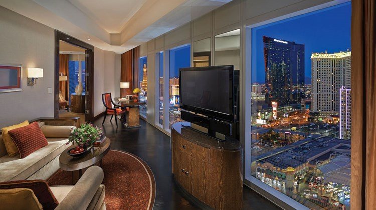 A Strip View Suite Living Room at the Mandarin Oriental Las Vegas.