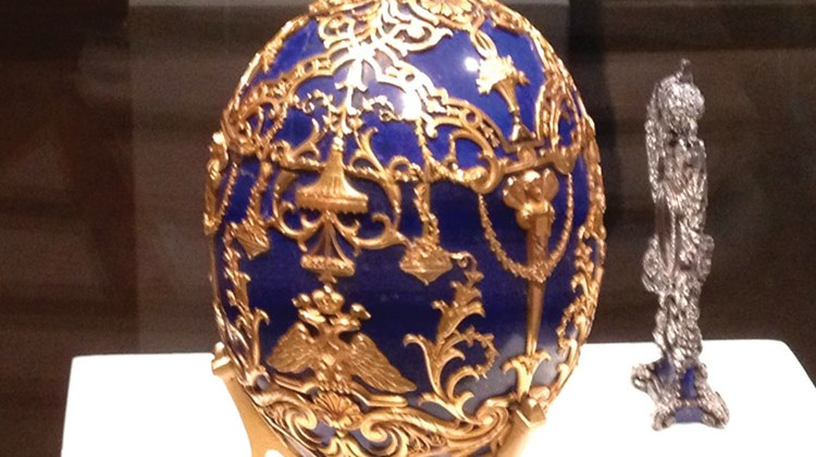The Faberge Easter eggs are on display, along with numerous other works of porcelain art by the artist, at the Museum of Fine Arts in Montreal.