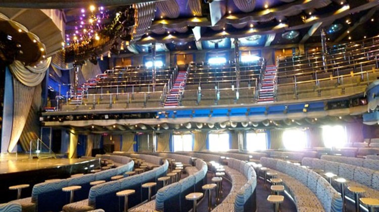 The triple deck Spectacular Showroom is the ship's largest entertainment venue, seating 1,400 guests. Photo by Peter Knego/www.maritimematters.com