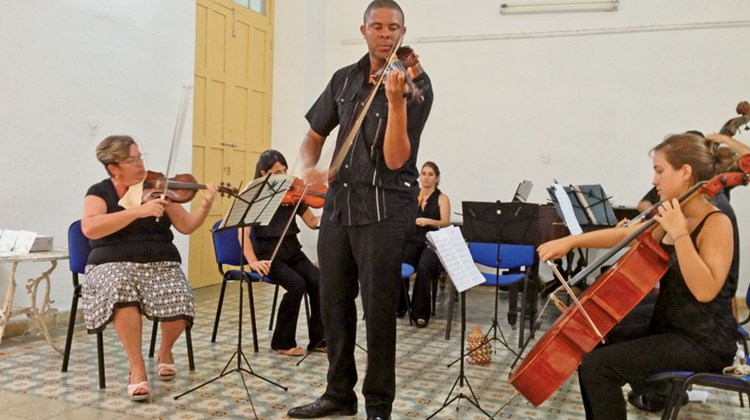 The Orquestra de Camara, a chamber music orchestra of seven musicians, performed for our group in Cienfuegos, Cuba.