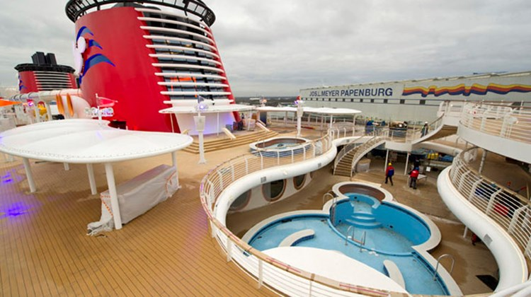 The Fantasy's top decks will eventually house deck chairs, and passengers who will be flocking to pools, the water coaster and a new water feature called the AquaLab.