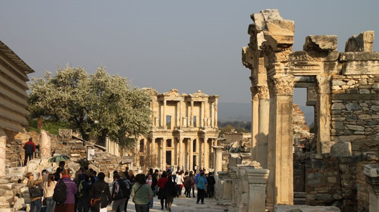The Library of Celsus, at the center of the photo, was built in the second century as a tomb. It is the most photographed attraction at Ephesus, a Greco-Roman city in Turkey that was inhabited at least until the 14th century.