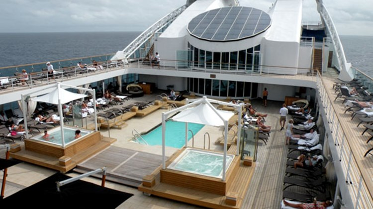 The pool deck on the Seabourn Odyssey.